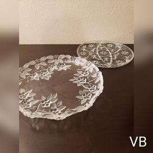 Vintage Cut Crystal Platters Set of 2.